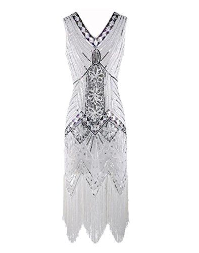 Vogue Dress Club Women Comfy Sequin V Party Tassels Cocktail Neck White Sexy XwqSXA