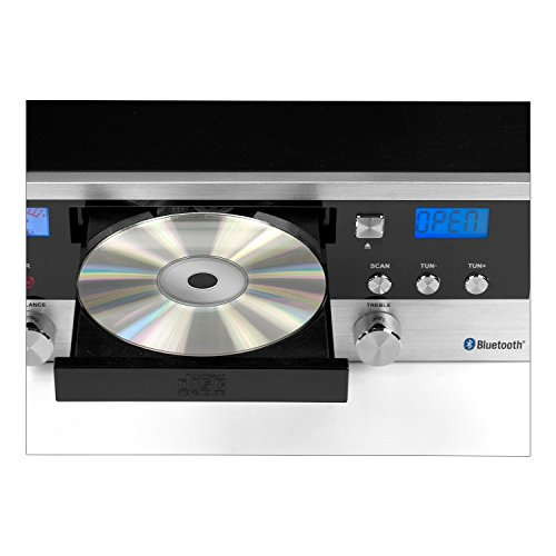Innovative-Technology-Classic-Retro-Bluetooth-Stereo-System-with-CD-Player-FM-Radio-Aux-In-Headphone-Jack-and-Turntable-Silver-and-Black