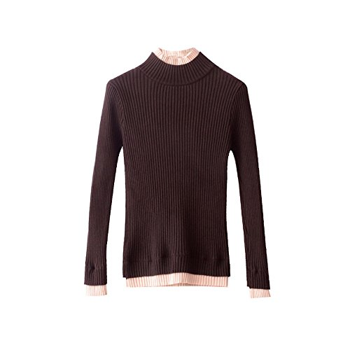 High Sleeved Stitching Brown Semi And A Long Set Design Sweater Sweater Autumn Winter Dream Winter Collar Sunny Knit And Women U0vqvg