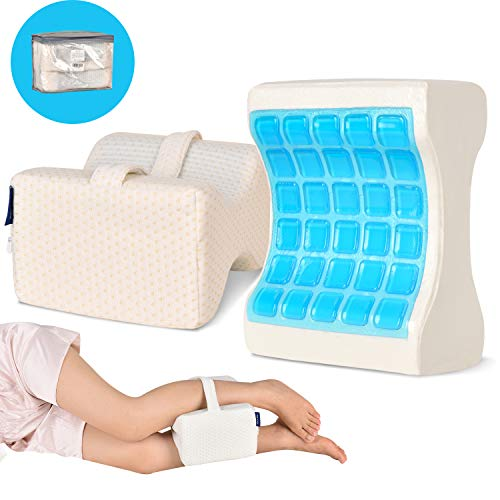Refrze Knee Pillow for Side Sleepers-Leg Pillow with Cooling Gel 100% Memory Foam with Adjustable & Removable Strap