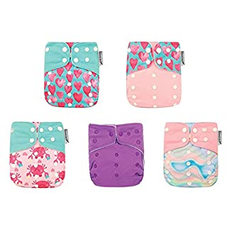 Kawaii Baby 5 Pack One Size Reusable Cloth Diapers for Girl with 10 Super Absorbent Stay-Dry Microfiber Inserts Newborn to Toddlers, Soft and Comfortable - Ship from Canada.