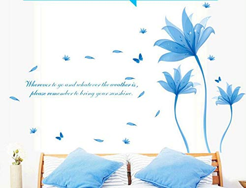 qingyuge 3D Wall Sticker Removable Blue Flowers Wall Sticker Quotes PVC Bedroom Wall Stickers Home Decor Bricolage Decoration Home Sticker -
