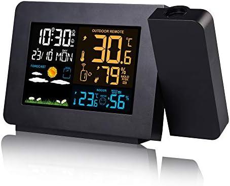zhangcheng Projektionswecker,Multifunktions-Farbwettervorhersage,Innen- und Außentemperatur,Großbild-Digitalanzeige,geeignet für Familien