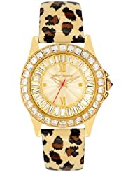 Betsey Johnson Womens BJ00004-02 Analog Leopard Printed Strap Watch