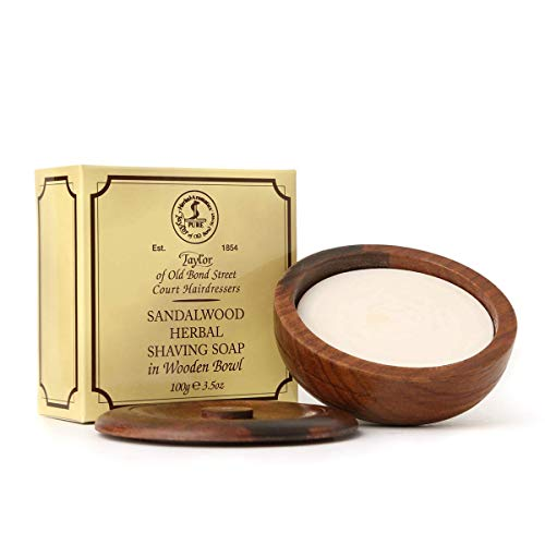 Taylor of Old Bond Street Sandalwood Shaving Soap in a Wooden Bowl, 3.5 oz.