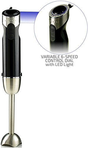 Ovente Multi-Purpose Immersion Hand Blender, Brushed Stainless Steel, Variable 6-Speed Control, 500-Watts, Black (HS690B)