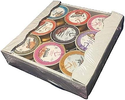 NUEVOS SABORES!!! Variado de patés y cremas, bandeja de 18 unidades x 25 gramos monodosis para untar en desayunos, aperitivos.