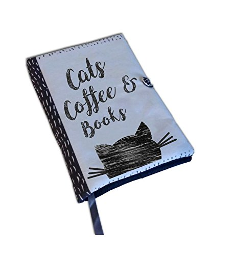 Book Cover Fabric UK Book Accessories Cats Coffee Books Cat lovers Fabric book cover book lovers Notebook Cover Book Cover Handmade
