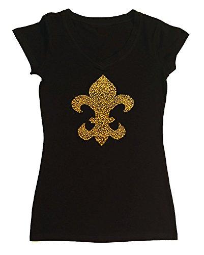 Womens Fashion T-Shirt with Gold Fleur De Lis in Rhinestuds (3X, Black Cap Sleeve)