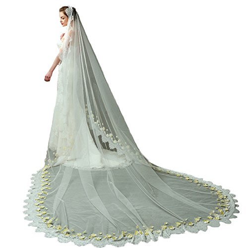 AliceHouse Champagne Wedding Veil 1T Elegent Lace Flowers Long Bridal Veil 098 by AliceHouse