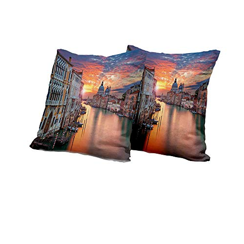 futon Cushion Cover European,Grand Canal in Venice Horizon European Town International Heritage Urban Image,Multicolor Cushion Cover Set of 2 20x20 INCH 2pcs
