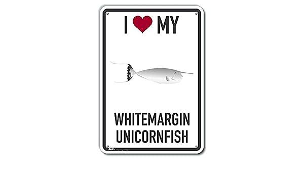 PetKa Signs and Graphics PKAS-0327-NA/_7x10I Heart My Whitemargin Unicornfish Aluminum Sign 7 x 10 0.04 Width