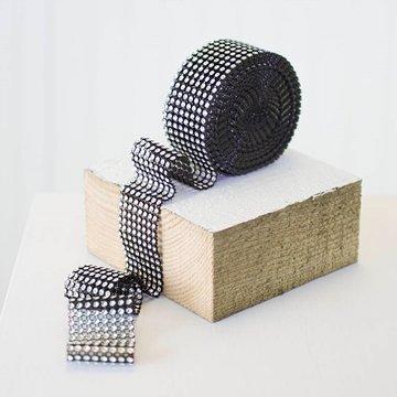 Diamond Mesh Ribbon Roll, Wedding Bling Streamer, 1.5 inch x 15 feet, Black