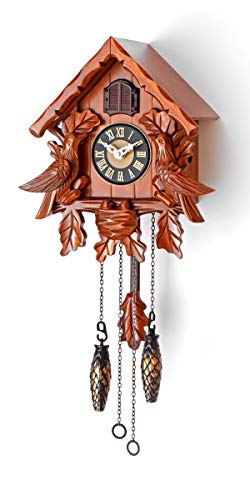Polaris Clocks Cuckoo Clock with Night Mode, Singing Bird, Wooden Decorations and Swinging Pendulum (Cherry)