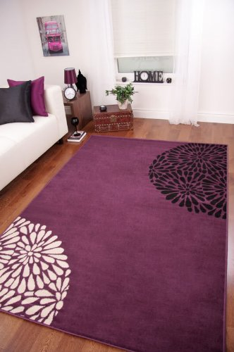 The Rug House Tapis de Salon Moderne Violet, Noir et Crème: Amazon ...