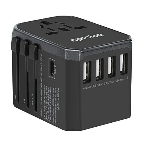 Universal Travel Power Adapter - EPICKA All in One Worldwide International Wall Charger AC Plug Adaptor with 5.6A Smart Power USB and 3.0A USB Type-C For USA EU UK AUS Cell Phone Tablet Laptop (Grey) by EPICKA