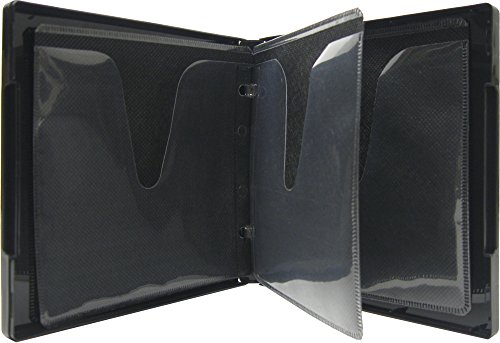 Library Cd Storage - (1) Black 6-Disc Capacity CD DVD 2-Ring Album Wallet Book Storage CDBR1606BK (UniKeep Style)