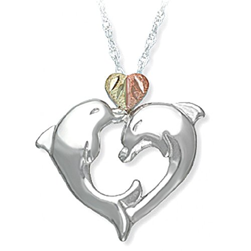 Happy Dolphins Heart Pendant Necklace, Sterling Silver, 12k Green and Rose Gold Black Hills Gold Motif, ()