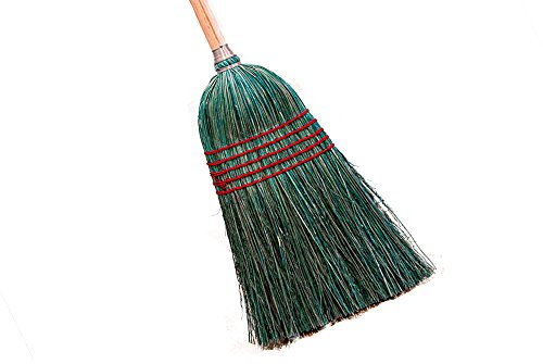 "American Market 100% Corn Broom With Wood Handle, 5 Stitches, 55"" Overall Length, 7/8"" Wood Handle, and 10"" Broom Head Width"