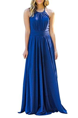 U-WARDROBE Womens Elegant Sleeveless Chiffon Bridesmaid Party Prom Dress Long Maxi