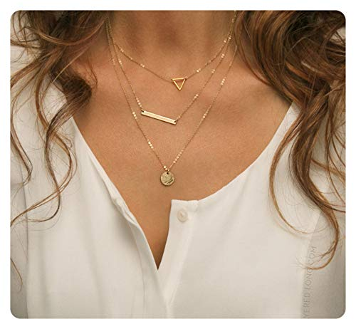 Fremttly Womens Handmade 14K Gold Filled Freshwater Pearls Simple Delicate Full Moon Ball Pendant and Star Chain Chokers Necklace-CK-3Layered