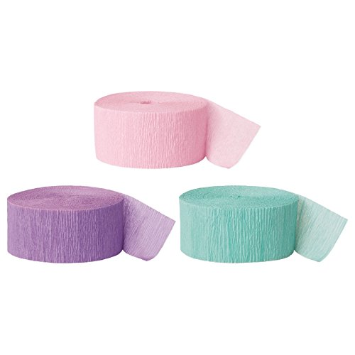 Andaz Press Crepe Paper Streamer Hanging Party Decorations Kit, 240-Feet, Pink, Lavender, Seafoam Mint Green, 1-Pack, 3-Rolls, Easter Unicorn Colored Wedding Baby Bridal Shower Birthday Supplies - Unicorn Mint