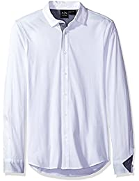 A|X Armani Exchange Men's Long Sleeve Jersey Woven Button up
