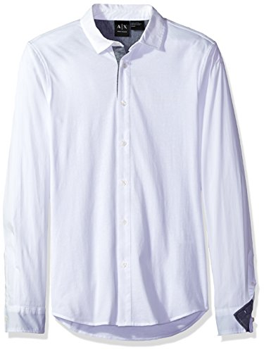 - A|X Armani Exchange Men's Long Sleeve Jersey Woven Button Up, White, Medium