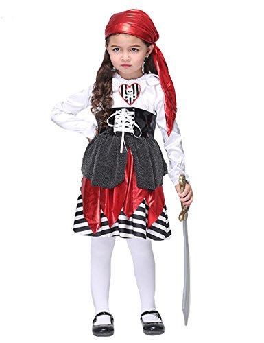 [DDSOL Little Girls Halloween Pirate Captain Novelty Buccaneer 7pcs Costume Sets] (Little Girl Skeleton Costumes)