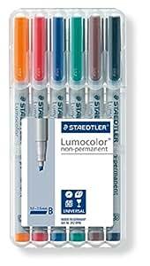 Staedtler 312WP6 - Lumocolor plumas en Aufstellbox película, soluble en agua, 6 pins, espesor, B [Importado de Alemania]