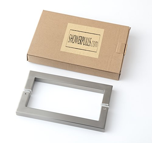 Rembrandt - Square 12'' Modern & Contemporary Double Shower Pull Stainless Steel for Entrance/Entry/Shower/Glass/Shop/Store, Interior/Exterior Barn & Gates - Brushed Nickel by Rembrandt (Image #3)