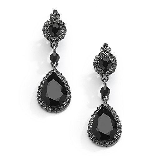 Diamond Onyx And Drop Earrings (Mariell Jet Black Crystal Teardrop Dangle Earrings with Pave Frames - Ideal for Proms and Wedding Parties)