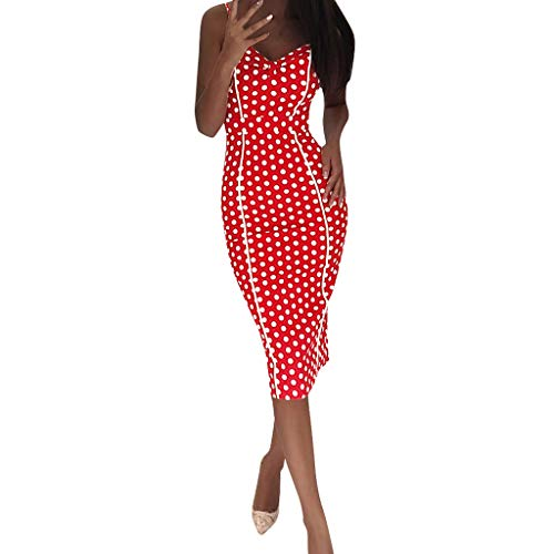 (Londony ✡ Women's Casual Loose Long Dress Sleeveless Split Maxi Dresses Midi Dress Summer Polka Dot Vintage Wrap Dress Red )