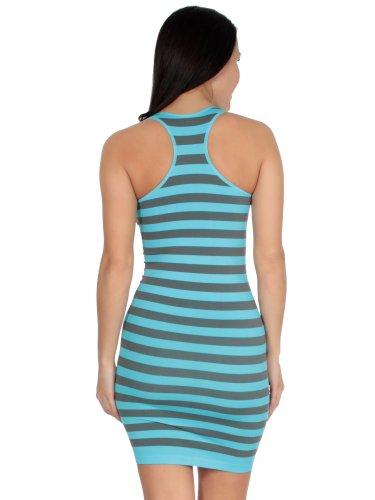 Simplicity Striped Mini Tank Dress in Seamless Stretch Fit Fibers, Aqua