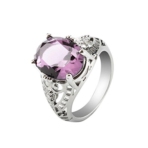 Challyhope Hot Sale! Fashion Wedding Ring For Women Oval Created Amethyst Sapphire Zircon Plated Silver Hallow Engagement Rings Jewelry (Pink, 6)