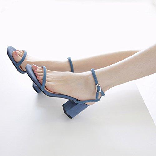 chaussures à talons hauts - Rainbow 2018 Nouveau, 6.3cm épais talon sandales mot des femmes boucles avec des chaussures d'orteil (Couleur : Bleu, taille : 34) Bleu