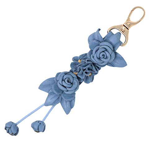 Charms Designer Purses - Genuine Leather Handmade Twin Rose Charms | Tassel for Bags Purse Backpack | Stainless Steel Keyring | Unique Gift Idea (Denim Blue)