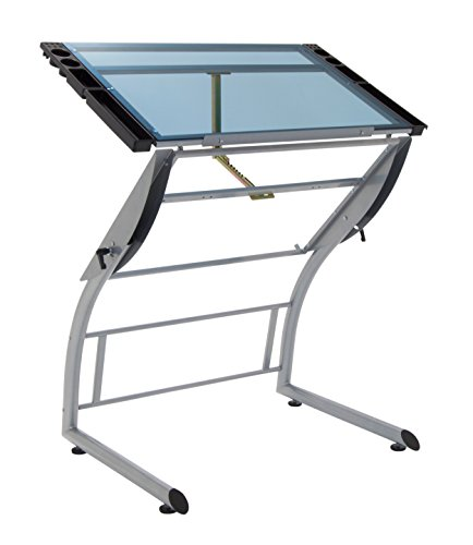 Studio Designs 10089 Triflex Drawing Table, Sit to Stand Up Adjustable Desk, Silver/Blue Glass by Studio Designs