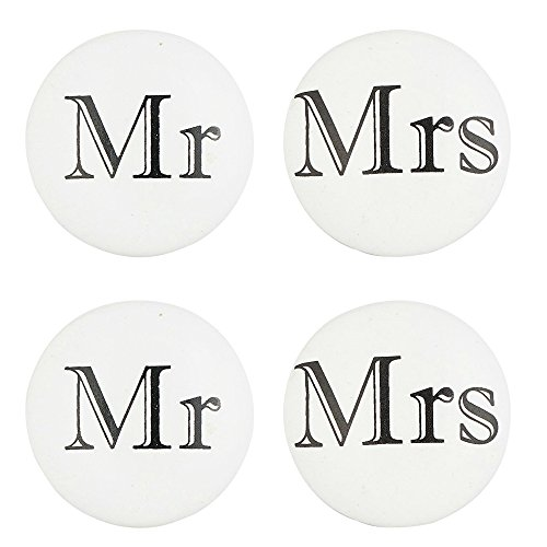 Set of 4 Mr and Mrs Knobs  Ceramic Drawer Pulls for Cabinets Dressers and Drawers  Hand Painted Knobs for Bathroom Bedroom Kitchen and Living Room Cabinetry by Artisanal Creations
