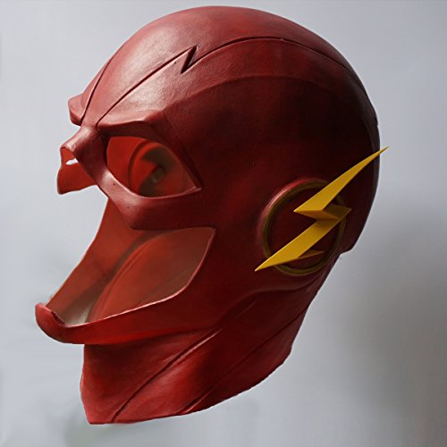 The Flash Mask (The Flash Mask with Zipper Cosplay Helmet Red Latex Full Head Mask Halloween new by hearty lady)