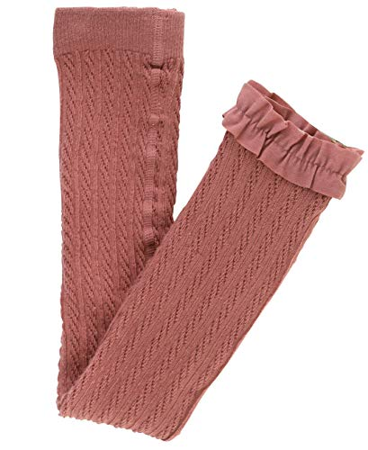 RuffleButts Girls Mauve Cable Knit Footless Ruffle Tights - - Girls Cable Knit