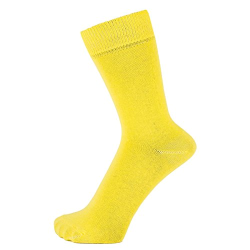 ZAKIRA Finest Combed Cotton Dress Socks in Plain Vivid Colours for Men, Women, 6-9 (US), Yellow
