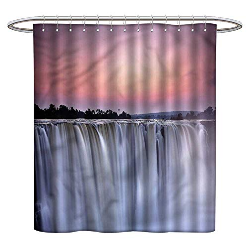 (LewisColeridge Quality Polyester Shower Curtain Waterfall,Exotic African Landscape,Durable Waterproof Fabric Bathroom Curtain)
