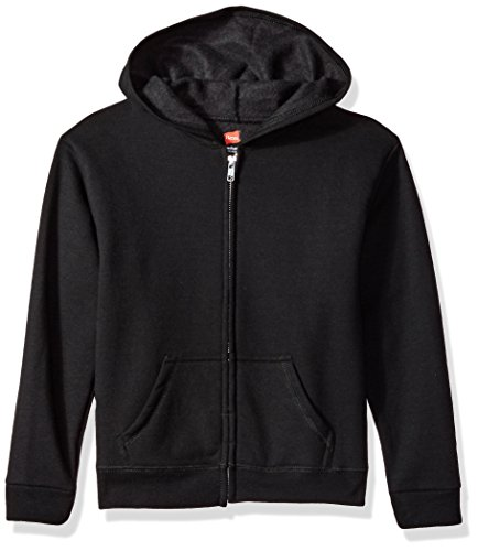 Hanes Girls' Big ComfortSoft EcoSmart Full-Zip Hoodie, Black, ()