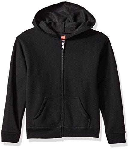 Hanes Girls' Big ComfortSoft EcoSmart Full-Zip Hoodie, Black ()