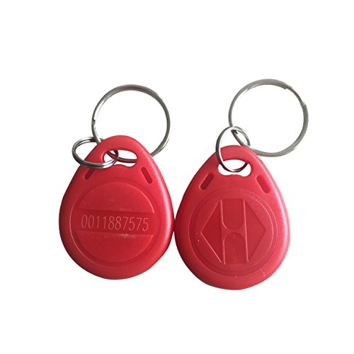 10 PCS 125KHz RFID Key Fob Proximity ID Card Token Tag Keypad Card for Door Entry Access Control System for Security Lock Wholesale, Read Only (pack of 10) (Red)