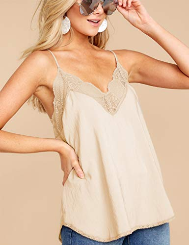 Beige Women V Neck Basic Blouse,Lace Camisole Sleeveless Shirt Spaghetti Strap Satin Tops L ()