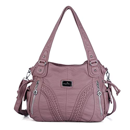 Angelkiss Women Top Handle Satchel Handbags Shoulder Bag Messenger Tote Washed Leather Purses Bag (Pink) ... (Kathy Van Zeeland Purses Green)