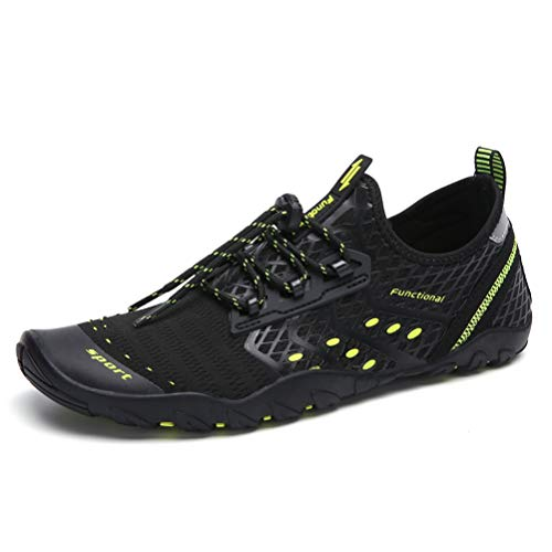 UBFEN Mens Womens Swimming Shoes Water Shoes Aqua Shoes Beach Sports Quick Dry Barefoot for Boating Fishing Diving Surfing with Drainage Driving Yoga Size 14 Women / 12 Men B Black Green