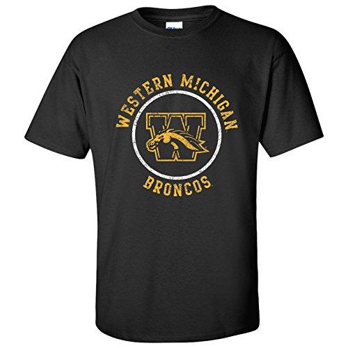Western Michigan University - UGP Campus Apparel AS04 - Western Michigan Broncos Distressed Circle Logo T-Shirt - Large - Black